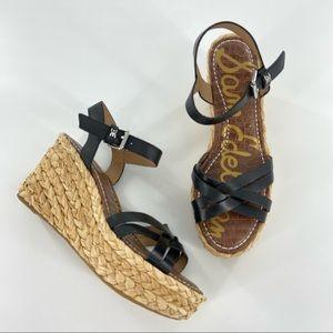Sam Edelman Darline Black Platform Wedge Sandals